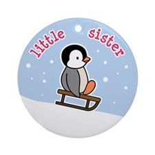 Little Sister Penguin Ornament (Round)