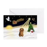 XmasSunrise/Dachshund LH Greeting Cards (Pk of 10)