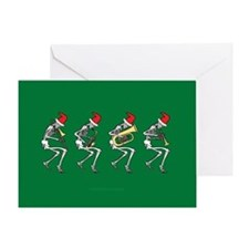 Xmas Brass Band Skeletons Greeting Card