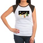 Night Flight/Shiba Inu #7 Women's Cap Sleeve T-Shi