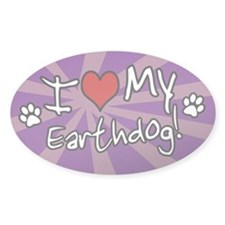 Purple Striped I Love My Earthdog Oval Decal
