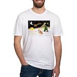 Night Flight/Pomeranian #2 Fitted T-Shirt