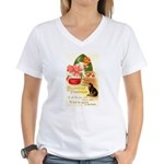 Apple Bobbing Women's V-Neck T-Shirt