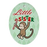 Little Sister Christmas Monkey Oval Ornament