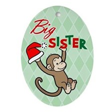 Big Sister Christmas Monkey Oval Ornament
