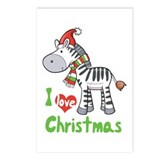 I Love Christmas Zebra Postcards (Package of 8)