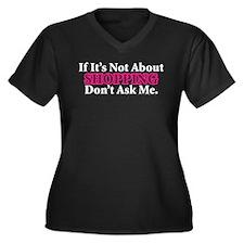 Shopping Women's Plus Size V-Neck Dark T-Shirt