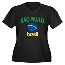 Sao Paulo Women's Plus Size V-Neck Dark T-Shirt