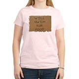 Will Swim for Food Women's Pink T-Shirt