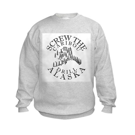 Screw Caribou (Drill Alaska) Kids Sweatshirt