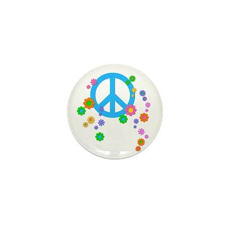 Peace Love Flowers Mini Button (100 pack)