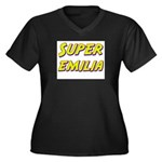 Super emilia Women's Plus Size V-Neck Dark T-Shirt