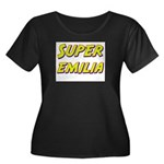 Super emilia Women's Plus Size Scoop Neck Dark T-S