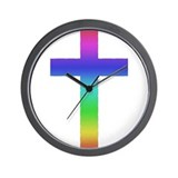 Gay Pride Cross Wall Clock