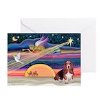 Xmas Star & Basset Greeting Cards (Pk of 10)