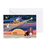 Xmas Star & Basset Greeting Cards (Pk of 20)