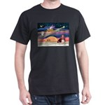 Xmas Star & Basset Dark T-Shirt