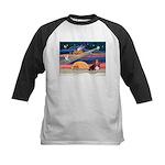 Xmas Star & Basset Kids Baseball Jersey