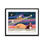 Xmas Star & Basset Framed Panel Print