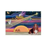 Xmas Star & Basset Rectangle Magnet (10 pack)