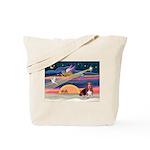 Xmas Star & Basset Tote Bag