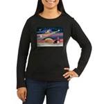 Xmas Star & Basset Women's Long Sleeve Dark T-Shir