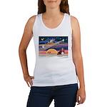 Xmas Star & Basset Women's Tank Top