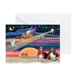 Xmas Star & 2 Bassets Greeting Card