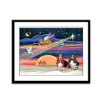 Xmas Star & 2 Bassets Framed Panel Print