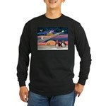 Xmas Star & 2 Bassets Long Sleeve Dark T-Shirt