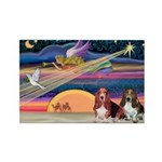 Xmas Star & 2 Bassets Rectangle Magnet