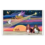 Xmas Star & 2 Bassets Sticker (Rectangle)