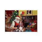 Santa's Basset Hound Rectangle Magnet