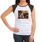 Santa's Basset Hound Women's Cap Sleeve T-Shirt