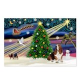 Xmas Magic - Basset Postcards (Package of 8)