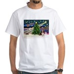 Xmas Magic - Basset White T-Shirt