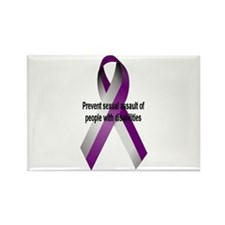 """""""Purple and silver ribbon"""" Rectangle Magnet"""