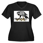 Goshawk Women's Plus Size V-Neck Dark T-Shirt
