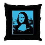 Bright Pop Art Blue Mona Lisa Throw Pillow