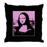 Bright Pop Art Pink Mona Lisa Canvas Pillow