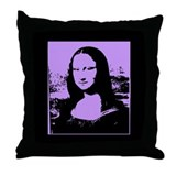 Bright Pop Art Purple Mona Lisa Pillow