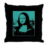 Bright Pop Art Teal Mona Lisa Toss Pillow