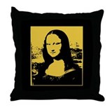 Bright Pop Art Gold Mona Lisa Throw Pillow