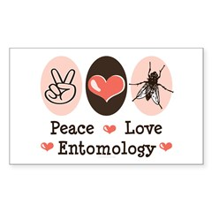 Peace Love Entomology Rectangle Sticker