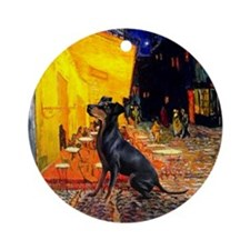 Cafe & Manchester Terrier Keepsake (Round)