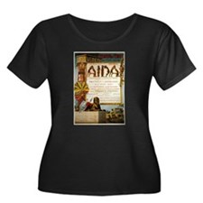 Aida Women's Plus Size Scoop Neck Dark T-Shirt