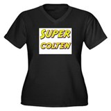 Super colten Women's Plus Size V-Neck Dark T-Shirt