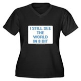 8 Bit World Women's Plus Size V-Neck Dark T-Shirt