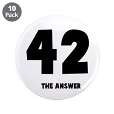 "42 the answer to the question 3.5"" Button (10 pack"