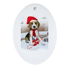 Beagle Christmas Scene Oval Ornament